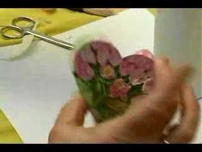 Making Personalized Decoupage Items : Gluing a Napkin to First Heart in Decoupage Hanging Decoration