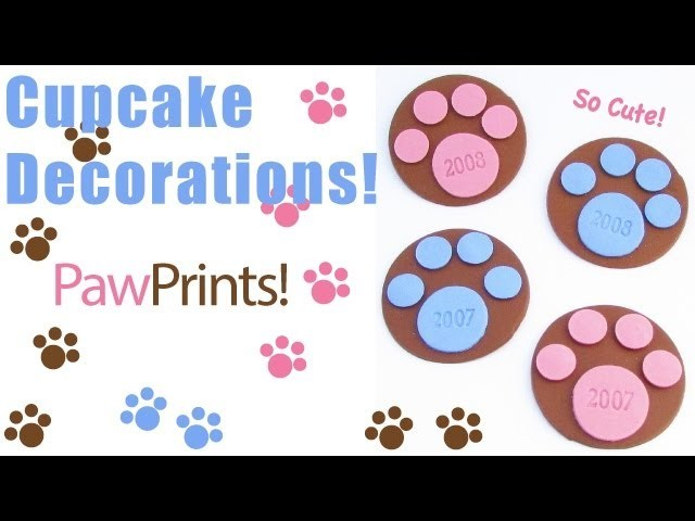 Paw Print Cupcake Decorations