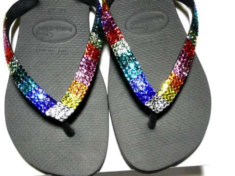 "Swarovski Crystal Black Havaianas flip flops ""Patches"""