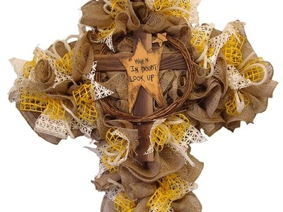 Twig Cross with Burlap Video Tutorial by Trendy Tree