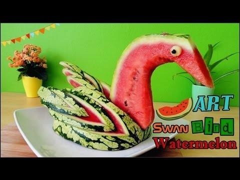 Art In Watermelon Swan | Food Carving Bird Garnish | Fruit Decoration