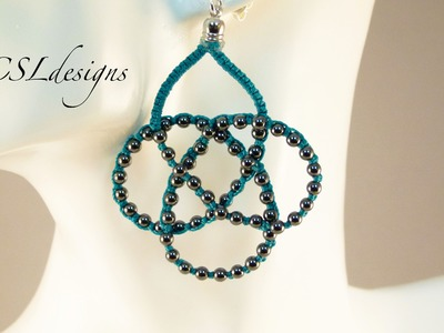 Beaded celtic knot micro macrame necklace.earrings