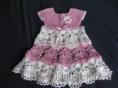 Crochet dress  How to crochet an easy shell stitch baby. girl's dress for beginners 34
