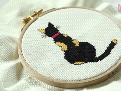 How to make a cat cross stitch
