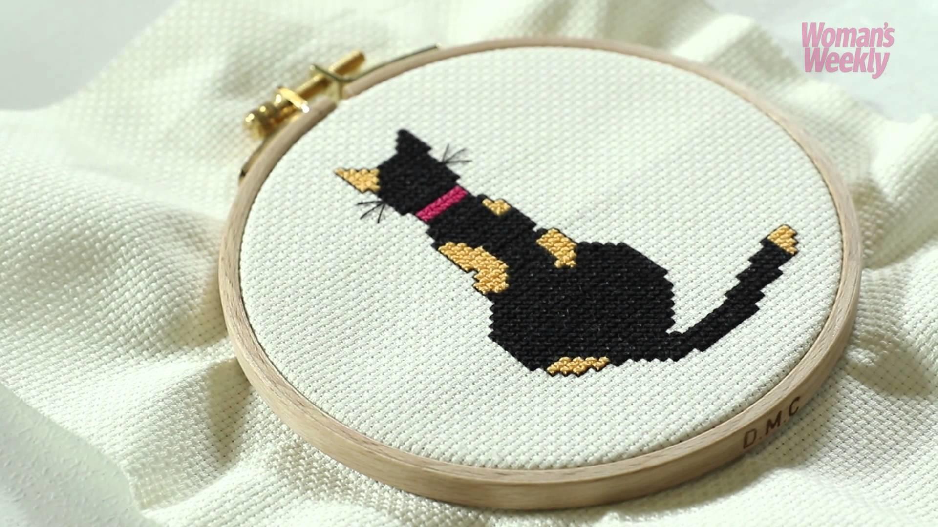 How to make a cat cross stitch