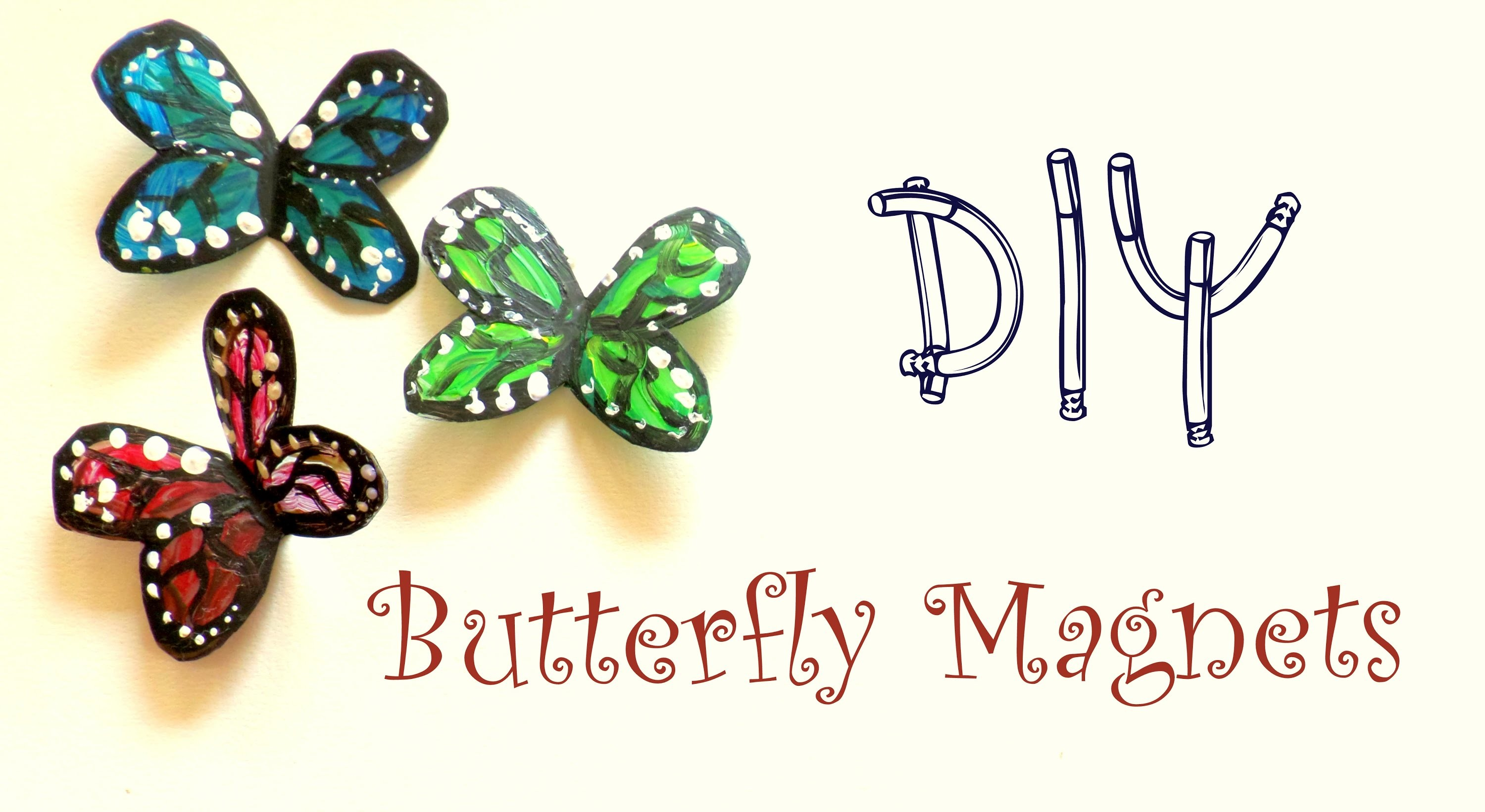 How to Make Plastic Bottle Butterfly Magnets | Cute Home Decor Idea | by Fluffy Hedgehog