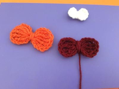 Móc nơ bằng len (  How to crochet a hair bow )