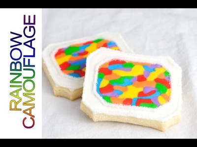 RAINBOW CAMOUFLAGE COOKIES, DECORATING WITH ROYAL ICING