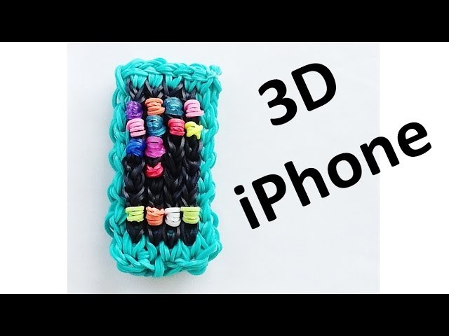 Rainbow Loom: 3D iPhone. iPod Charm design. How to Make with loom bands