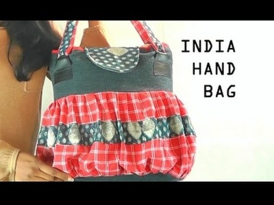 Recycled Jeans Hangbag-INDIA. leather patches PART 1. DIY Bag Vol 14A
