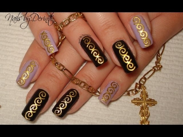 Super Easy Stylish & Quick DIY Nail Art Design with BPS 3D Gold Embossed Nail Art Stickers