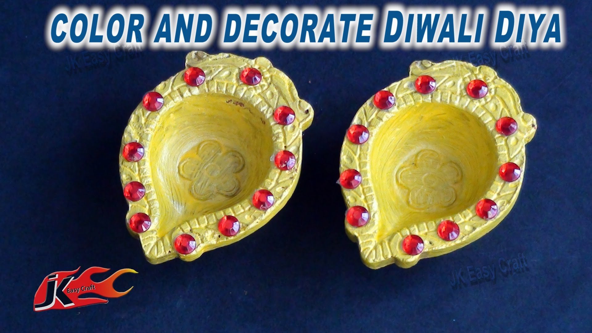 DIY Diwali Diya Decoration|How to color and decorate |JK Easy Craft 055