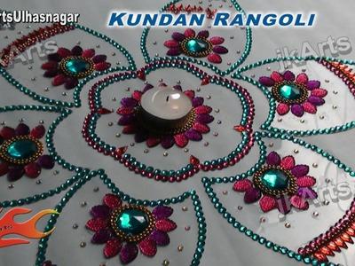 DIY Kundan Rangoli Design on OHP Sheet   How to make   JK Arts 427