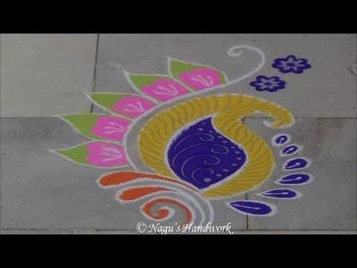 Free Hand Rangoli Design - How to make Rangoli Design By Nagu's Handwork