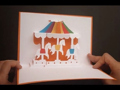 Merry-go-round ( Carousel ) Pop Up Card Tutorial, Origamic Architecture