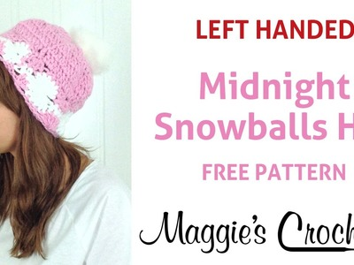 Midnight Snowball Hat Free Crochet Pattern - Left Handed