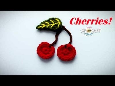 Crochet Cherries Applique Tutorial - Back To School Fun!