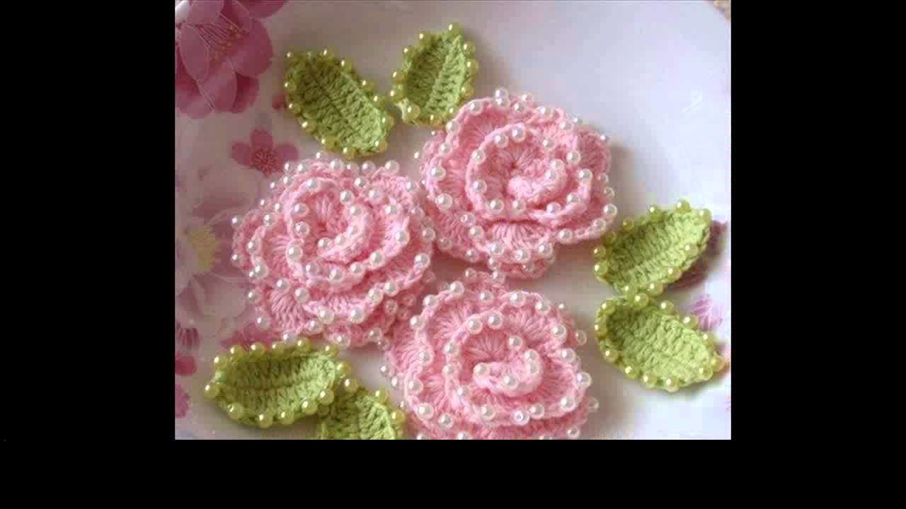 Crochet rose flower