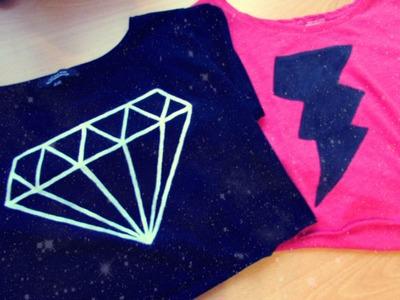 DIY camisetas diamante y rayo♡!