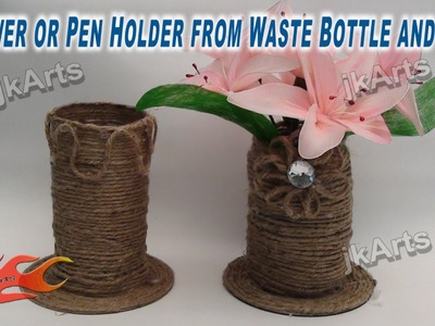 DIY Flower or Pen Holder from Waste Bottle and DVD - JK Arts 265