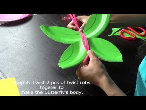 DIY Paper Plate Craft -- Butterfly (Free Pattern Avaliable)