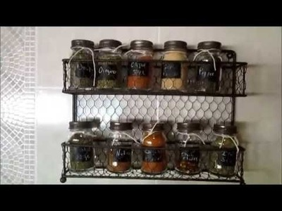 DIY Spice Jars-Using Dollar Tree  and World Market Canisters