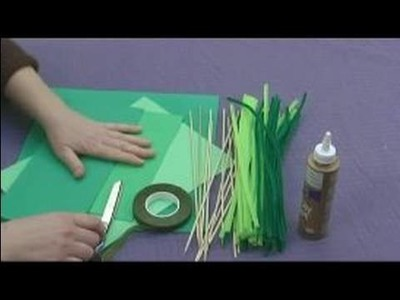 Foam Flower Crafts for Kids : Cutting Leaves for Flower Kids' Crafts