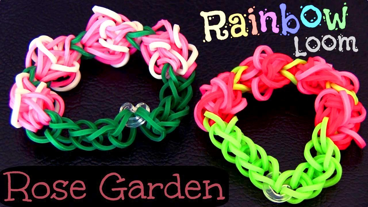 """How to Make Bracelet (decoration) """"Rose Garden"""" from Rainbow Loom. On the Loom."""
