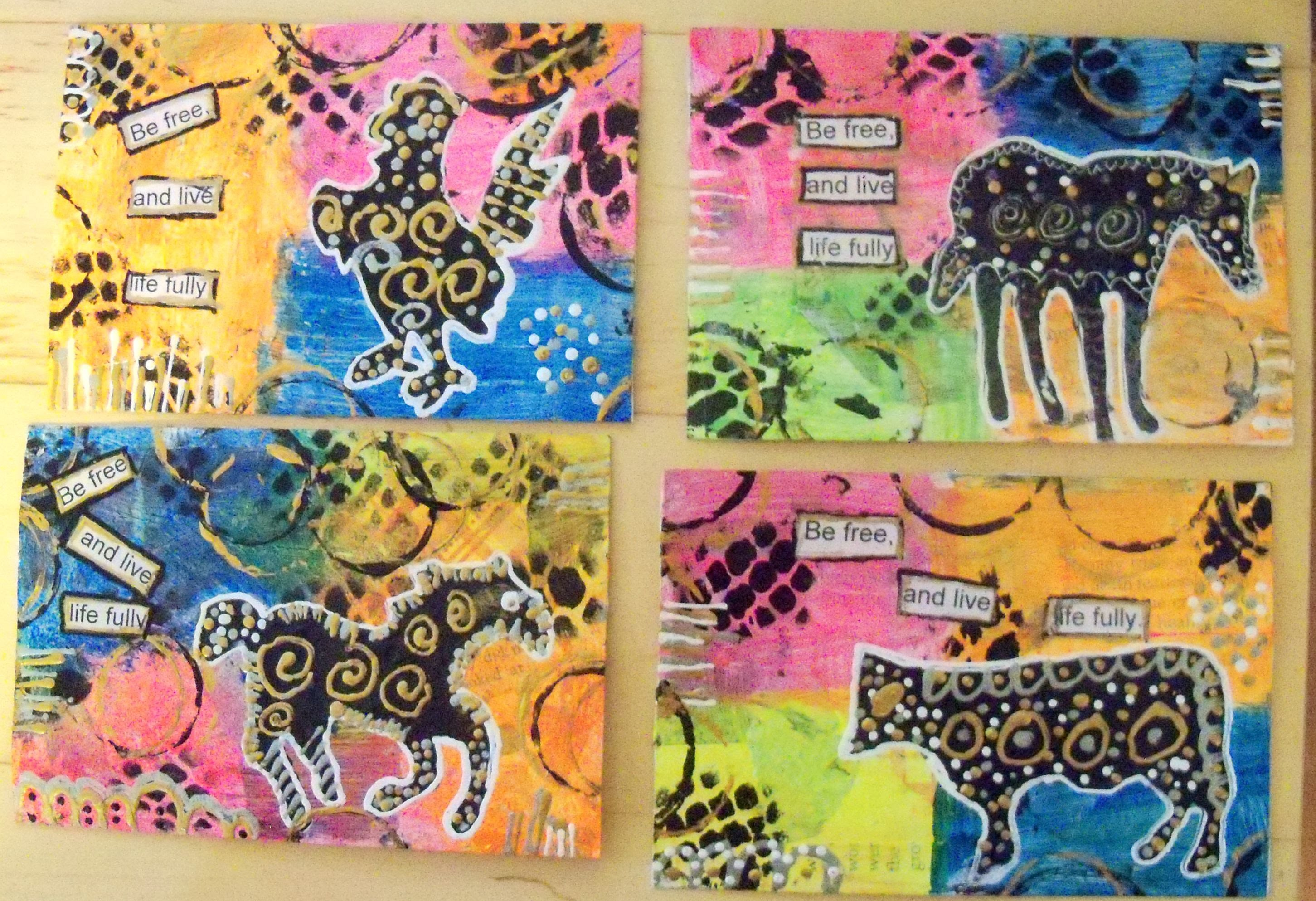 ‪How to make mixed media Animal Postcards.Tutorial.#‎pawgustart
