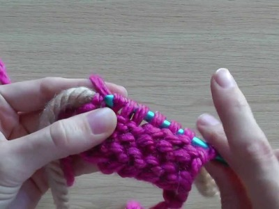 Knooking crossed purl stitch