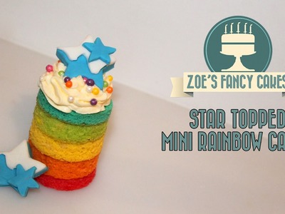 Rainbow cake tutorial mini rainbow cakes with star toppers colored sponge ingredients