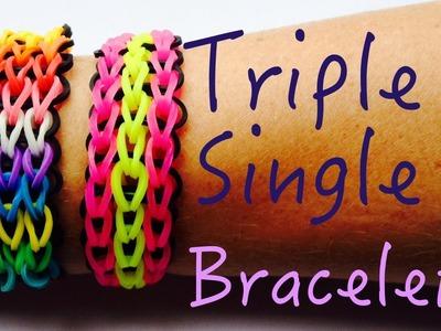 Rainbow Loom Triple Single Bracelet Tutorial Howto (Easy Tuto facile français)