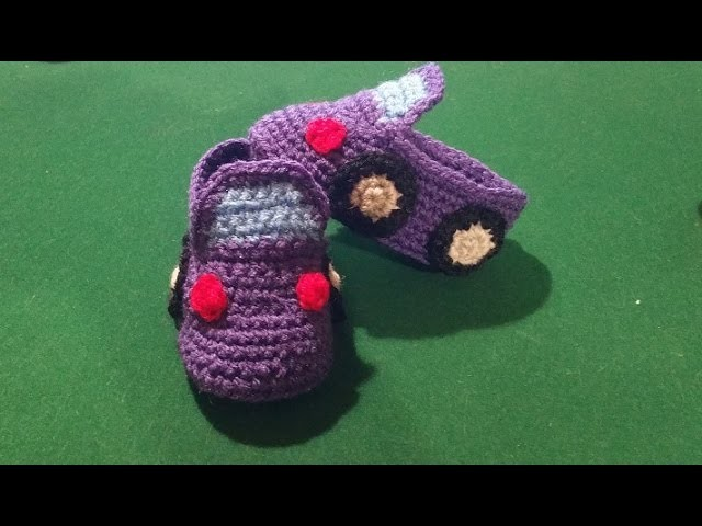 """Scarpine bebè all'uncinetto modello """"automobile""""-  tutorial crochet baby booties - zapatitos crochet"""