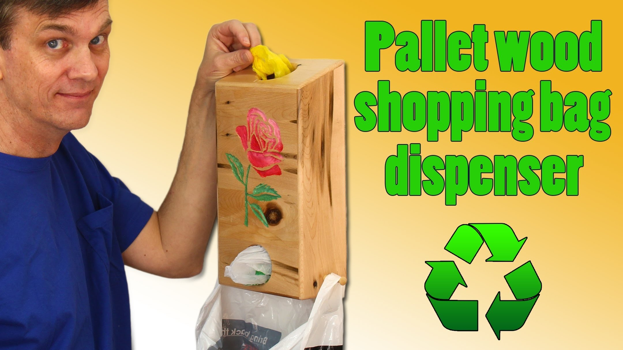 Shopping bag dispenser made from recycled pallet wood.