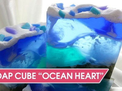 "Swirl Soap Tutorial - How To Make soap-cube ""Ocean Heart"""