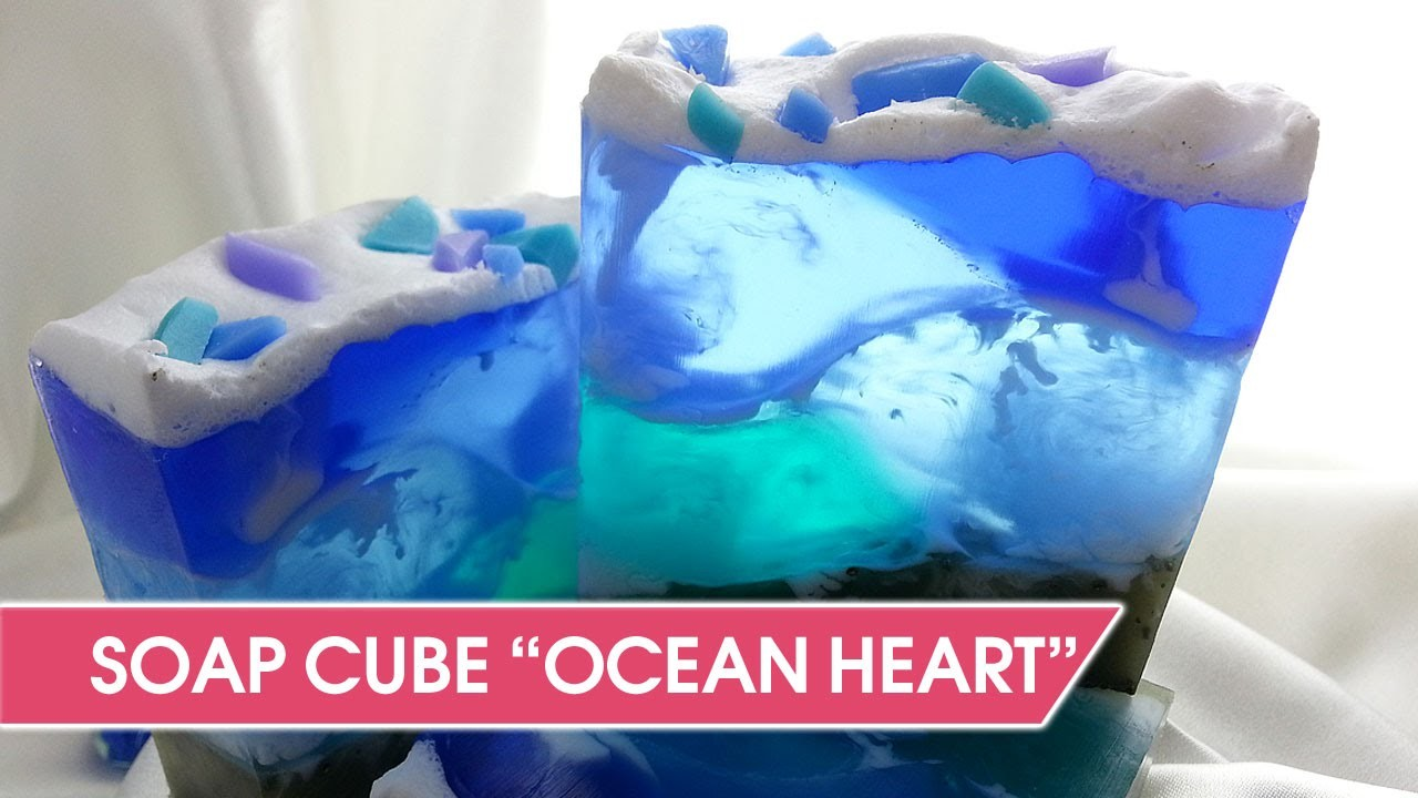 "Swirl Soap Tutorial - How To Make soap-cube ""Ocean Heart"""
