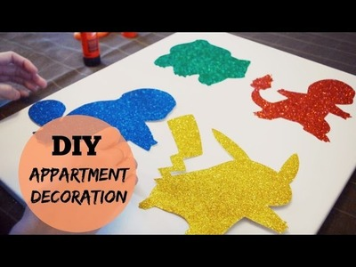 APARTMENT DECORATION   GLITTER POKEMON WALL ART   DIY