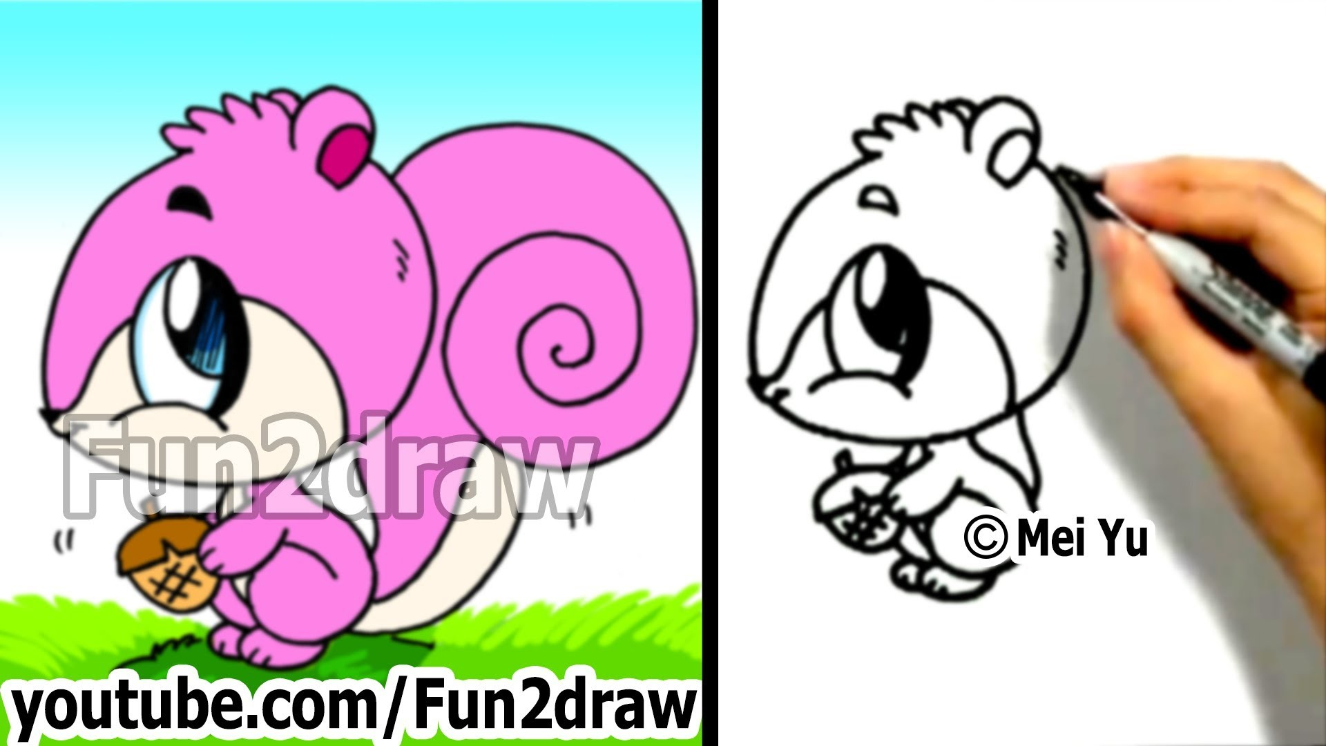 How to Draw a Cartoon Squirrel in 2 min - Drawing Step by Step Cute Art - Fun2draw