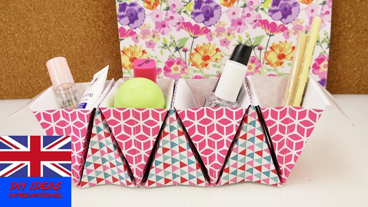 Origami Basket Organizer DIY – Improve your desk – Store for make up pens lotions