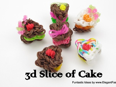 Rainbow Loom 3D Slice of Cake charms - How to tutorial(Loomless) - Food Series