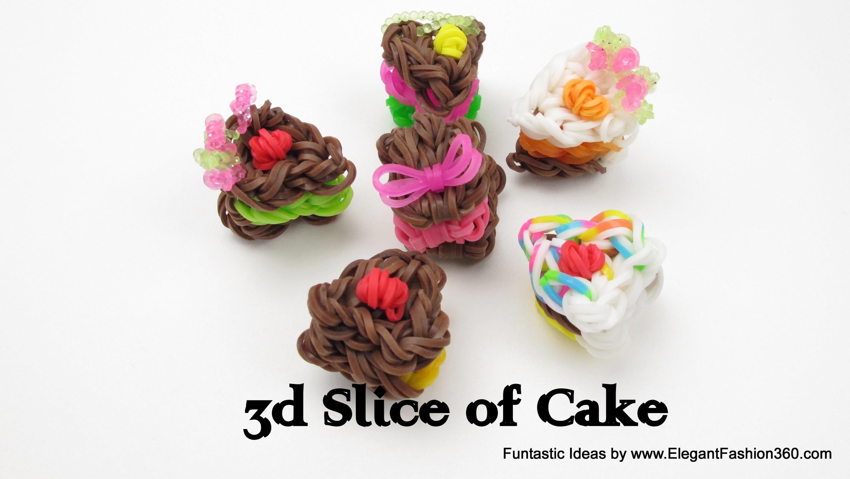 Rainbow Loom 3D Slice of Cake charms - How to tutorial(Loomless) - Food Series
