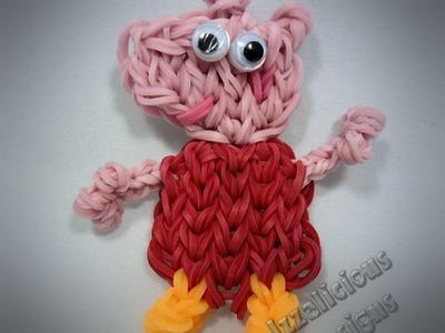 Rainbow Loom Peppa Pig Action Figure.Charm Tutorial (extended)
