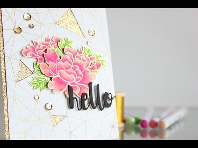 Gold embossing and coloring with Zig Clean Color markers