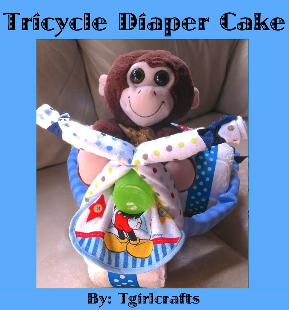 Diaper Cake - How to make a Tricycle Diaper Cake for a Baby Shower