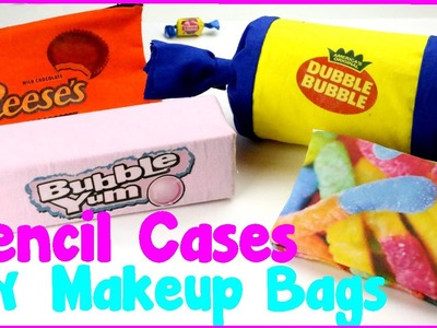 DIY Crafts: 4 Easy DIY Candy Pencil Cases and Makeup Bags {No Sew Craft Idea}