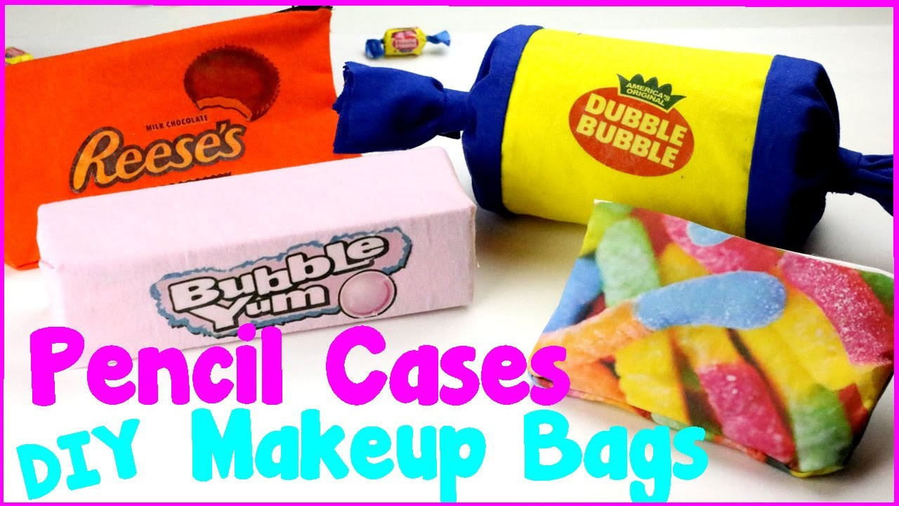DIY Crafts: 4 Easy DIY Candy Pencil Cases and Makeup Bags {No Sew Craft Idea}