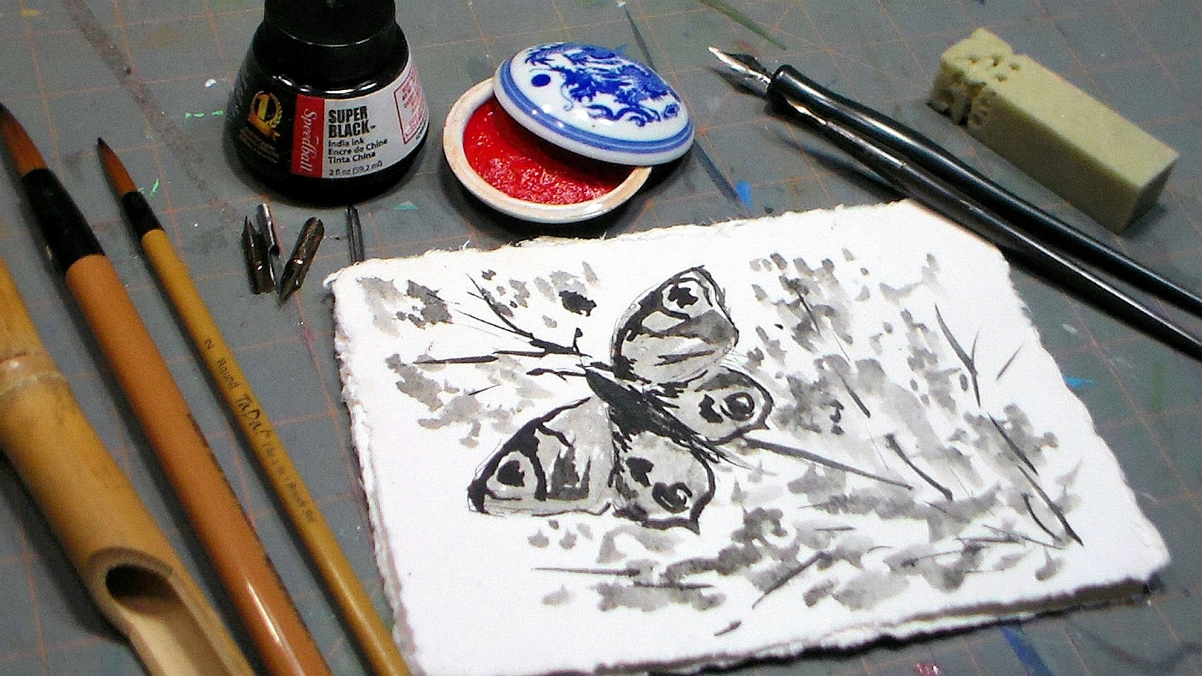 Easy Butterfly Ink Wash Tutorial