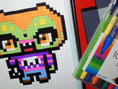 Handmade Pixel Art - How To Draw a Kawaii Zombie by Garbi KW #Halloween #Pixelart