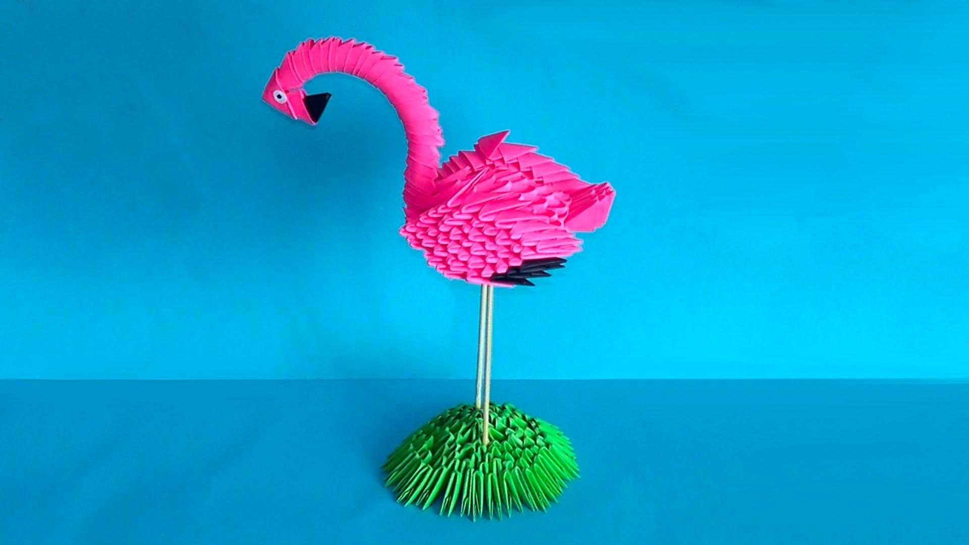 How to make 3D origami bird flamingo master class (tutorial)