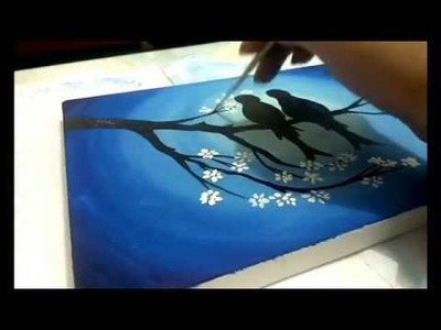 How to Paint cherry blossom tree and love birds